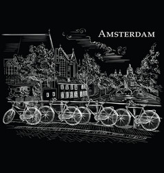 bicycles on bridge in amsterdam black vector image