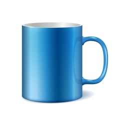 Blue and white ceramic mug vector image