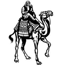 Camel with rider black white vector