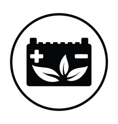 Car battery with leaf icon vector image