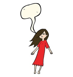 cartoon ghost like girl with speech bubble vector image