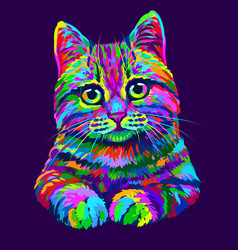 cat hand-drawn abstract multicolored portrait vector image