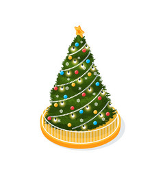 christmas tree decorated with glowing garlands vector image