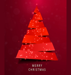 Christmas tree made of red paper on red background vector