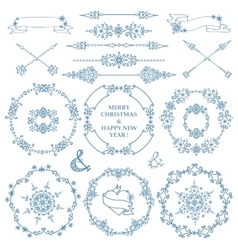 ChristmasNew year decor setWinter frames wreath vector