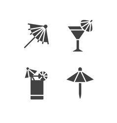 cocktail umbrella flat glyph icons cold summer vector image