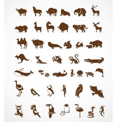 Collection animal icons vector