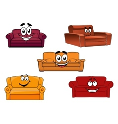 Colorful cartoon sofas and couches vector image