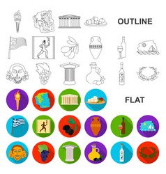 country greece flat icons in set collection for vector image