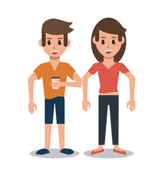 couple friends cartoon vector image