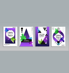 crystal banners realistic set vector image