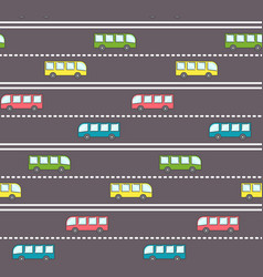 cute bus on the road pattern vector image