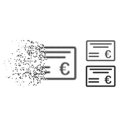 Disappearing dot halftone euro cheque icon vector