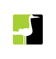 egret animal logo icon design vector image