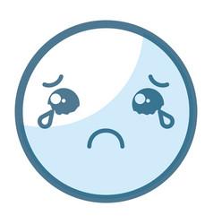 Emoticon sad face kawaii character icon vector