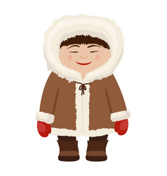 Eskimo man in fur coat vector