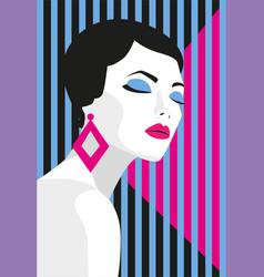 Fashion girl bold minimal style pop art opart vector