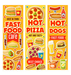 fast food burger pizza drinks and desserts vector image