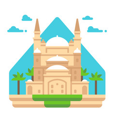 Flat design mosque of muhammad ali vector