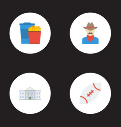 Flat icons western snack white house and other vector