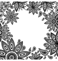frame of indian flowers vector image