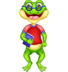 funny forg in red shirt with glasses cartoon vector image