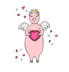 Funny hand-drawn pig cupid with wings and heart vector