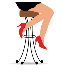 girl sitting on bar stools vector image