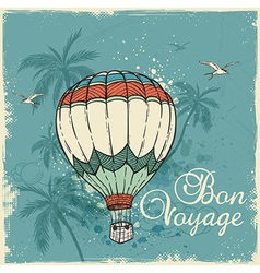 Green retro background with air balloon vector image