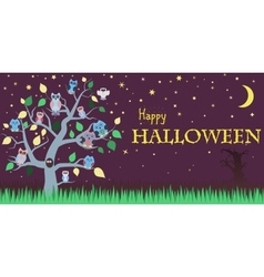 Halloween background with owls on tree night sky vector image