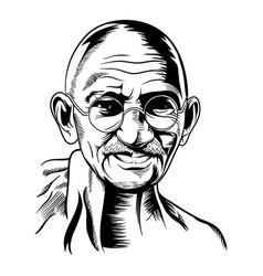Hand drawn portrait mahatma gandhi vector