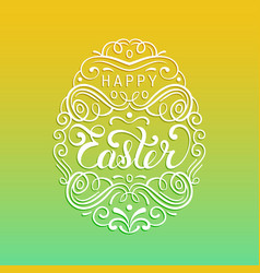 Happy easter type greeting card in the egg shape vector