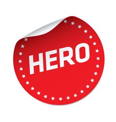 Hero red sticker vector