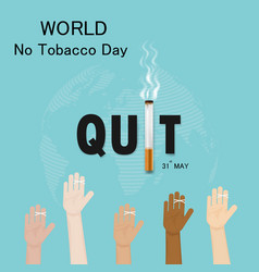 Human hands and cigarettequit tobacco logo vector