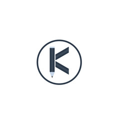 icon letter k with pencil vector image
