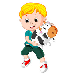 Little boy holding cow bank vector