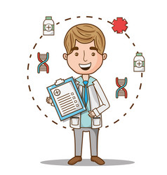 Man doctor with prescription diagnosis and uniform vector
