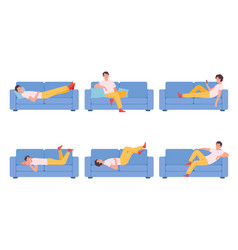 Man on couch relaxing different poses characters vector