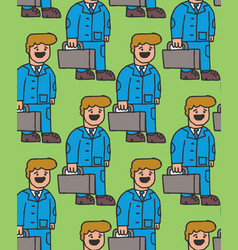 manager seamless pattern guy in suit goes to work vector image