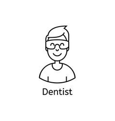 Medial happy doctor line icon medical health care vector
