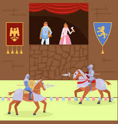 medieval knights joust flat vector image