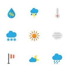 meteorology flat icons set collection of sun vector image