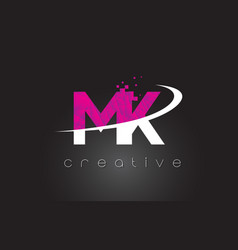 Mk m k creative letters design with white pink vector