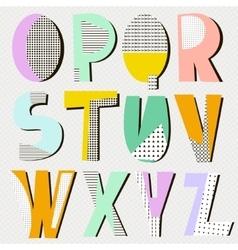 Modern alphabet in geometric memphis style Trendy vector