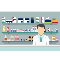 Modern interior pharmacy with male pharmacist vector image