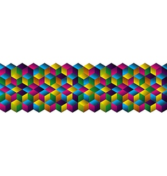 Muliticolored cubes strip pattern vector image