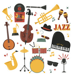 Musical instruments decorative icons with guitar vector