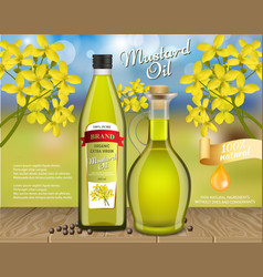 Mustard oil ads realistic vector