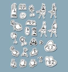 Naif Doodle Icons vector image