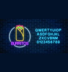 neon glowing sign of burrito in circle frame with vector image